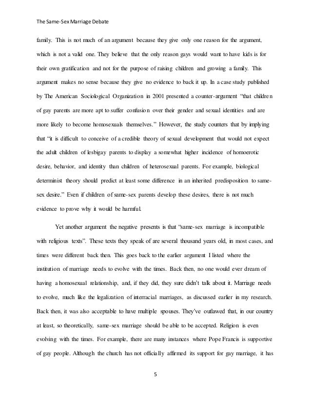 Argument paper for same sex marriage