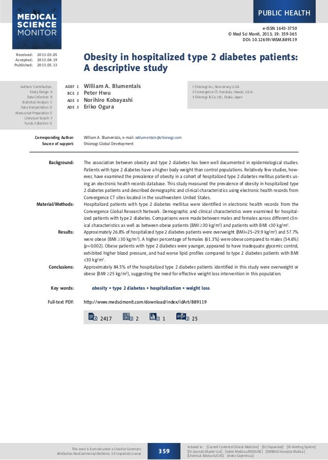 Received:2013.03.05 Accepted:2013.04.19 Published:2013.05.13 2417 2 1 25 Obesity in hospitalized type 2 diabe...