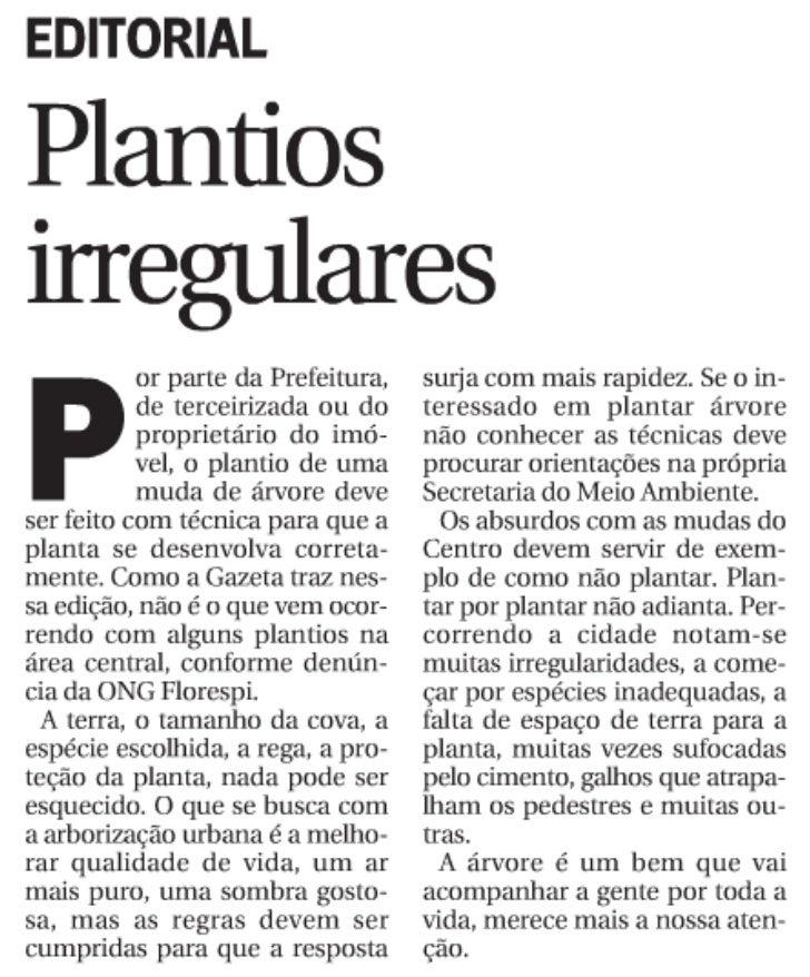 Editorial - Plantios irregulares