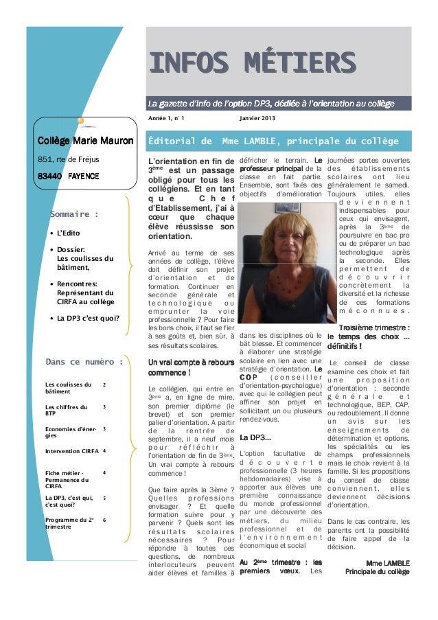 INFOS MÉTIERS                           La gazette d'info de l'option DP3, dédiée à l'orientation au collège              ...