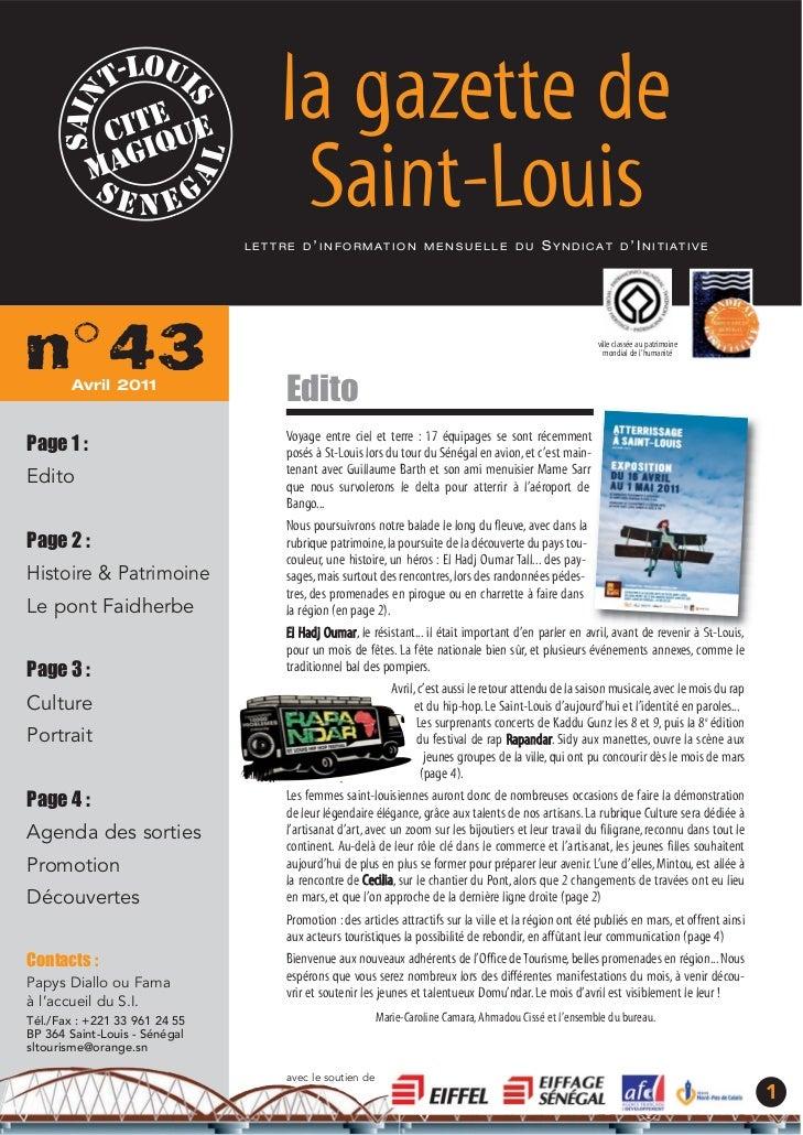 la gazette de                                       Saint-Louis                               L E T T R E D ' I N F O R M ...