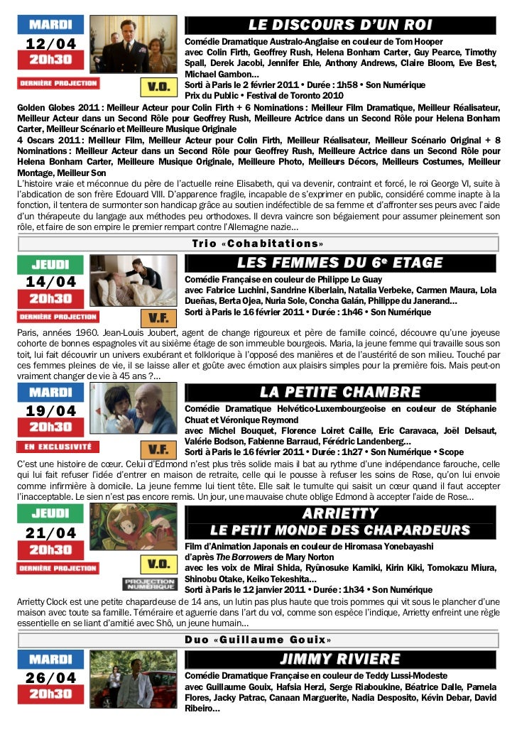 LE DISCOURS D'UN ROI  12/04                                     Comédie Dramatique Australo-Anglaise en couleur de Tom Hoo...