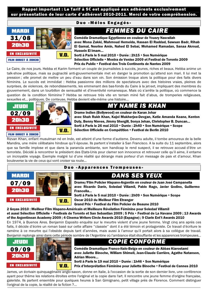 Rappel important : Le Tarif à 5€ est appliqué aux adhérents exclusivement   sur présentation de leur carte d'adhérent 2010...