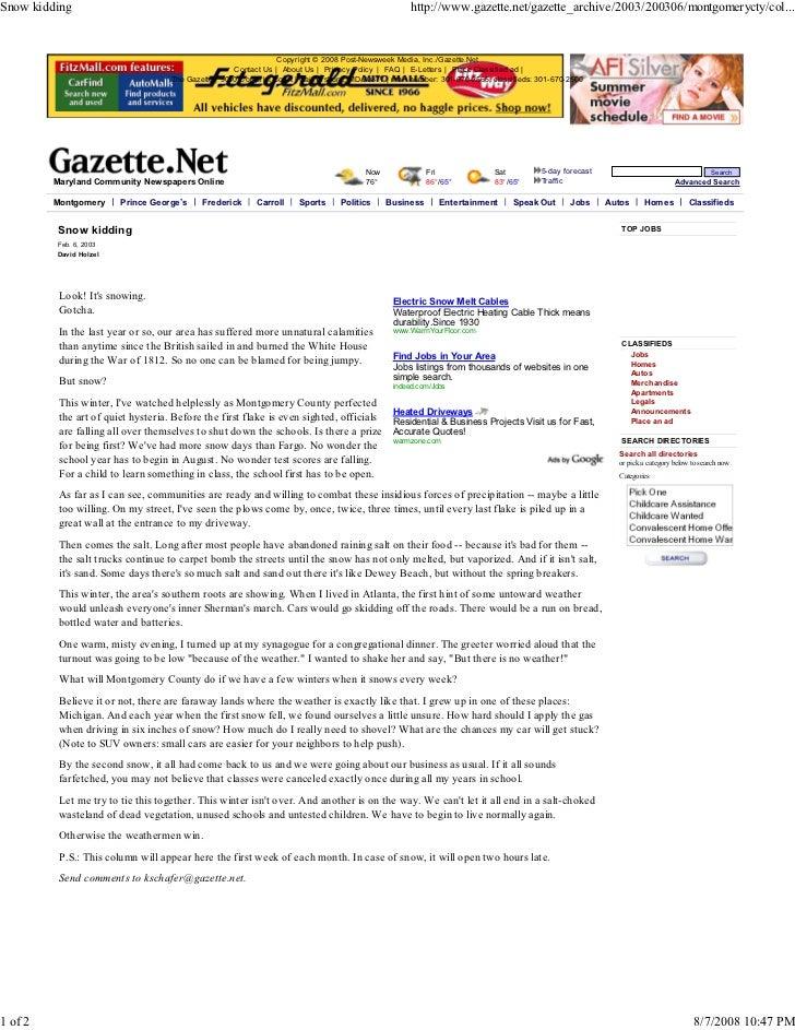 Snow kidding                                                                                         http://www.gazette.ne...