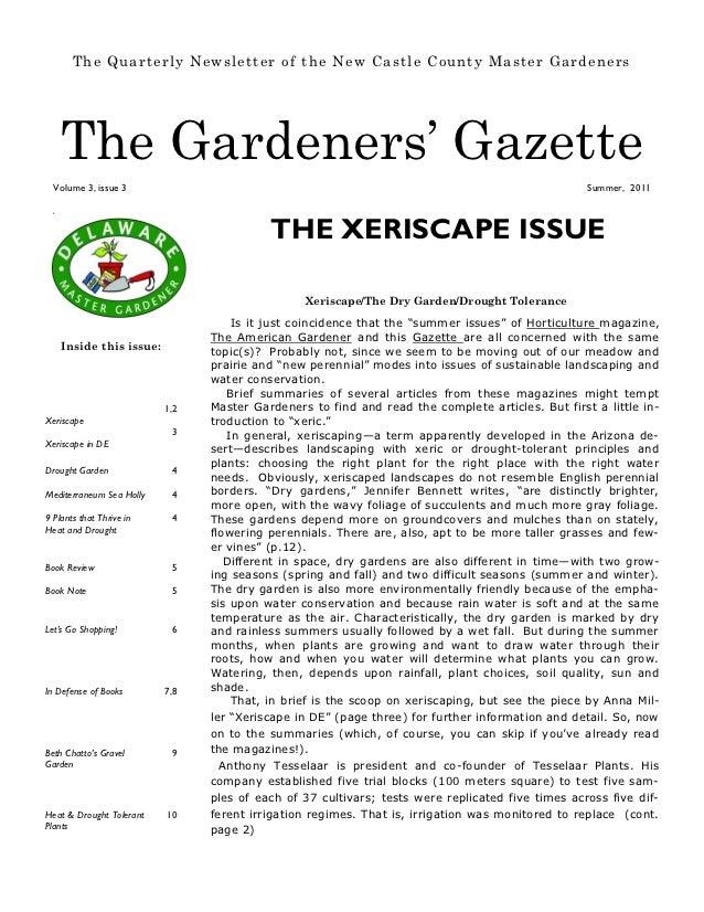 The Quarterly Newsletter of the New Castle County Master Gardeners      The Gardeners' Gazette  Volume 3, issue 3         ...