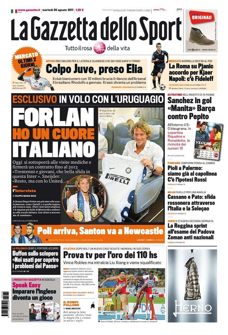 www.gazzetta.it martedì 30 agosto 2011 1,20 €                                                    REDAZIONE DI MILANO VIA S...