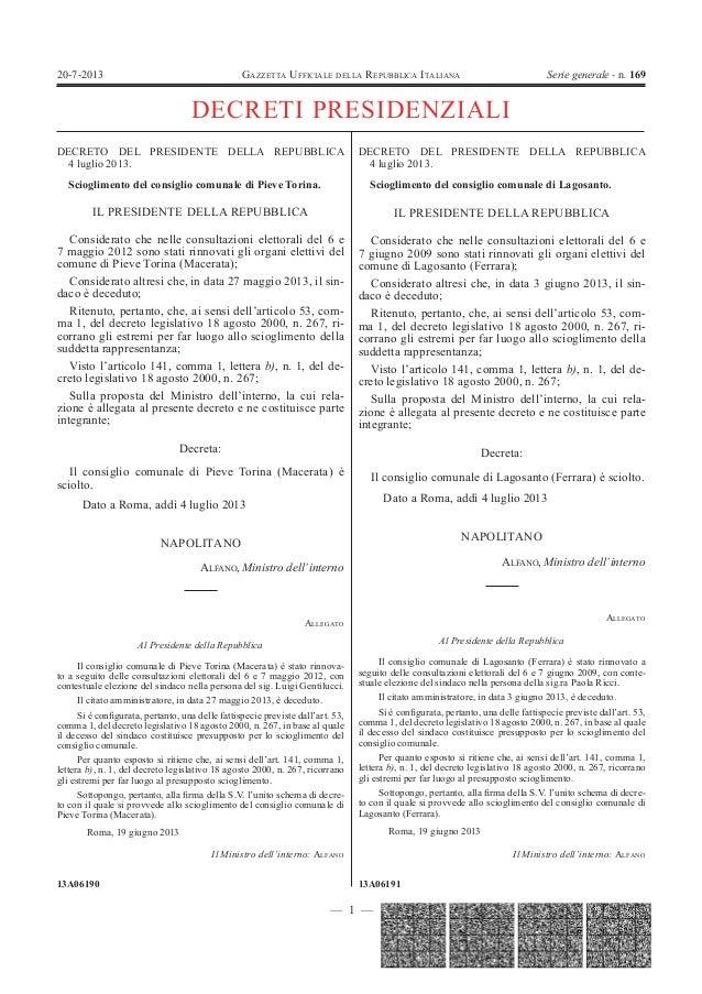 Gazzetta ufficiale 20 luglio 2013 decreto balduzzi for Decreto presidente della repubblica