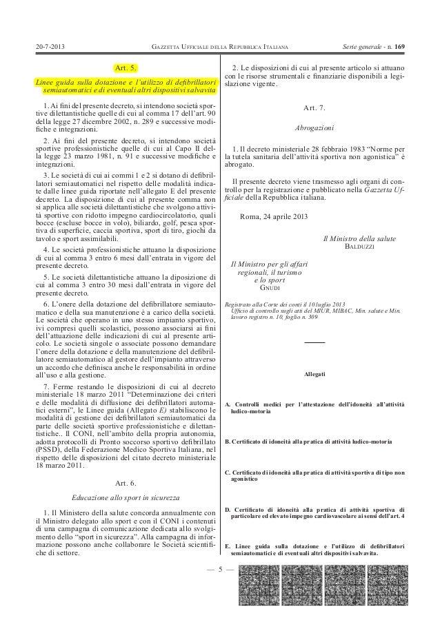 Gazzetta ufficiale 20 luglio 2013 Decreto Balduzzi