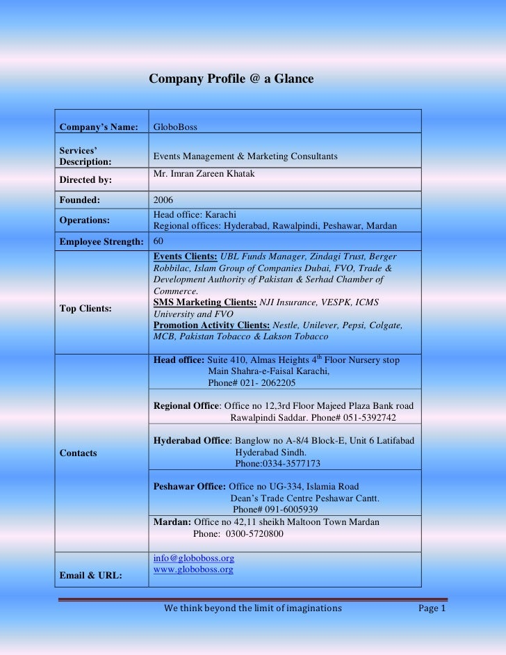 Company Profile @ a Glance   Company's Name:   GloboBoss  Services'                   Events Management & Marketing Consul...