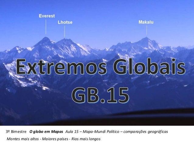 3º Bimestre O globo em Mapas Aula 15 – Mapa-Mundi Político – comparações geográficas Montes mais altos - Maiores países - ...