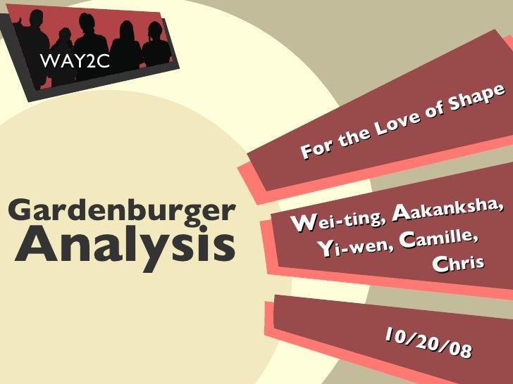 For the Love of Shape 10/20/08 Gardenburger   W ei-ting,  A akanksha,  Y i-wen,  C amille,  C hris WAY2C Analysis