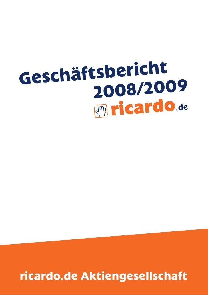 Geschäf tsbericht          20 08/2009     ricardo.de Aktiengesellschaft