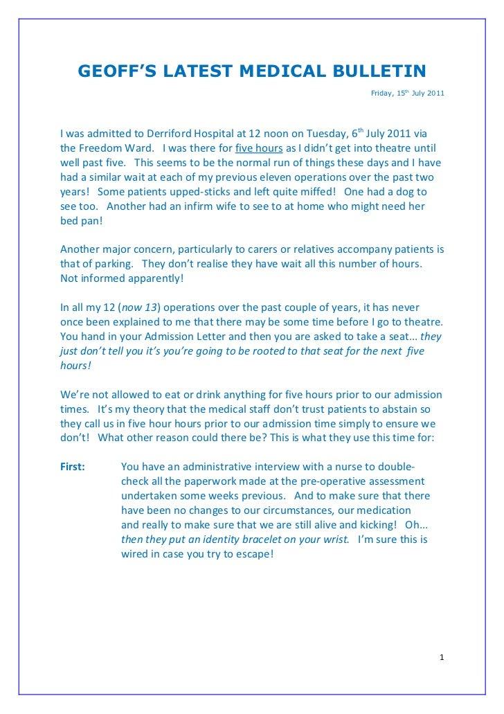 GEOFF'S LATEST MEDICAL BULLETIN                                                                 Friday, 15th July 2011I wa...