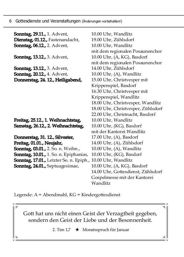 Sonntag, 29.11., 1. Advent, 10.00 Uhr, Wandlitz Dienstag, 01.12., Fastenandacht, 19.00 Uhr, Zühlsdorf Sonntag, 06.12., 2. ...