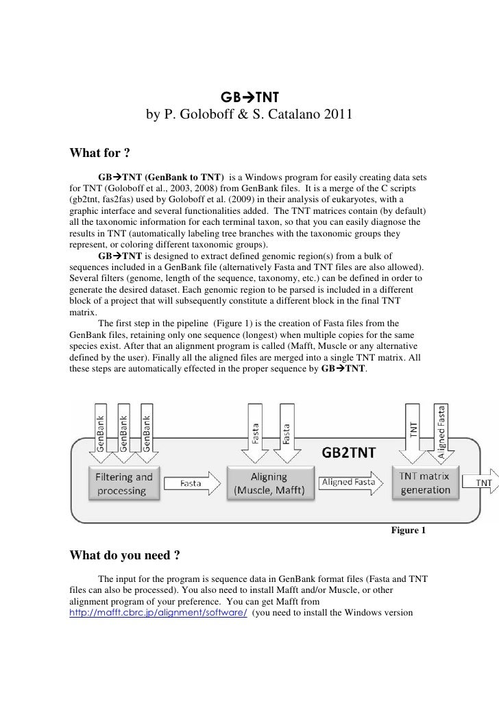 GB TNT                   by P. Goloboff & S. Catalano 2011What for ?         GB TNT (GenBank to TNT) is a Windows program ...