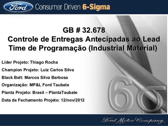 GB # 32.678   Controle de Entregas Antecipadas ao Lead   Time de Programação (Industrial Material)Líder Projeto: Thiago Ro...
