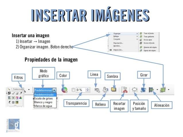 INSERTAR IMÁGENESINSERTAR IMÁGENES Insertar una imagen 1)Insertar Imagen→ 2)Organizar imagen. Boton derecho Filtros Modo g...