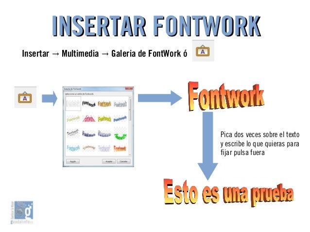 INSERTAR FONTWORKINSERTAR FONTWORK Pica dos veces sobre el texto y escribe lo que quieras para fijar pulsa fuera Insertar ...