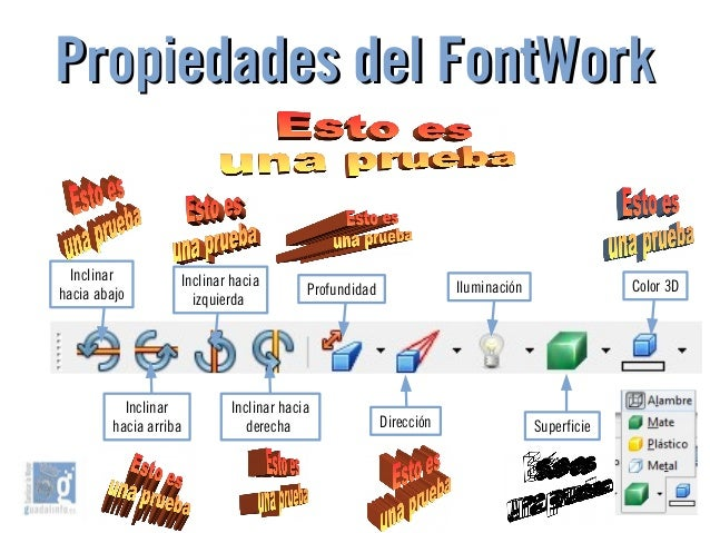 Propiedades del FontWorkPropiedades del FontWork Inclinar hacia abajo Inclinar hacia arriba Inclinar hacia izquierda Incli...