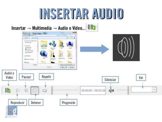 INSERTAR AUDIOINSERTAR AUDIO Insertar Multimedia Audio o Video...→ → Audio o Video RepetirPausar Silenciar Ver Reproducir ...