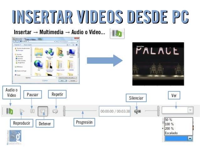 INSERTAR VIDEOS DESDE PCINSERTAR VIDEOS DESDE PC Audio o Video RepetirPausar Silenciar Ver Reproducir Detener Progresión I...