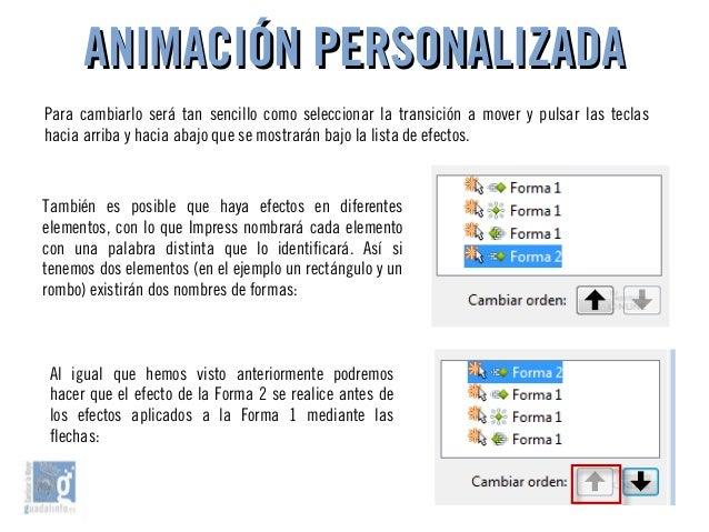 ANIMACIÓN PERSONALIZADAANIMACIÓN PERSONALIZADA Para cambiarlo será tan sencillo como seleccionar la transición a mover y p...