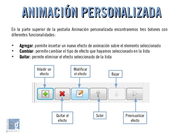 ANIMACIÓN PERSONALIZADAANIMACIÓN PERSONALIZADA En la parte superior de la pestaña Animación personalizada encontraremos tr...