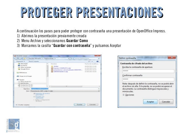 PROTEGER PRESENTACIONESPROTEGER PRESENTACIONES A continuación los pasos para poder proteger con contraseña una presentació...