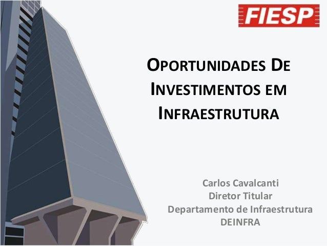 OPORTUNIDADES DE INVESTIMENTOS EM INFRAESTRUTURA  Carlos Cavalcanti Diretor Titular Departamento de Infraestrutura DEINFRA