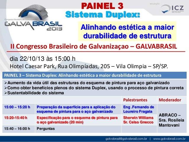 PAINEL 3 Sistema Duplex: Alinhando estética a maior durabilidade de estrutura II Congresso Brasileiro de Galvanizaçao – GA...