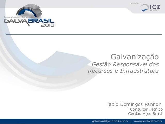 Galvanização  Gestão Responsável dos Recursos e Infraestrutura  Fabio Domingos Pannoni Consultor Técnico Gerdau Aços Brasi...