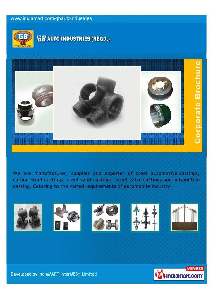 We are manufacturer, supplier and exporter of steel automotive castings,carbon steel castings, steel sand castings, steel ...