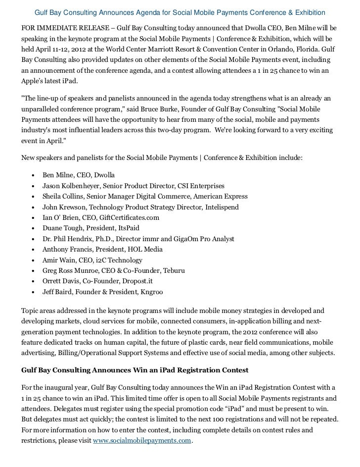 Gulf Bay Consulting Announces Agenda for Social Mobile Payments Conference & ExhibitionFOR IMMEDIATE RELEASE – Gulf Bay Co...