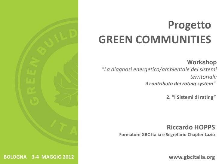 Progetto                          GREEN COMMUNITIES                                                           Workshop    ...