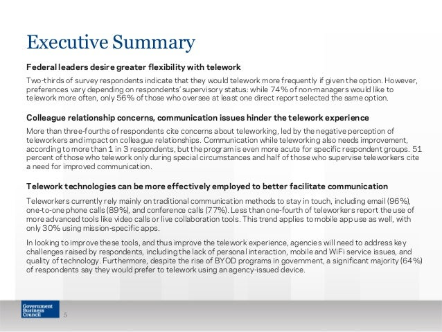 Communication challenges in federal telework 4 1 executive summary 5 executive summary federal platinumwayz