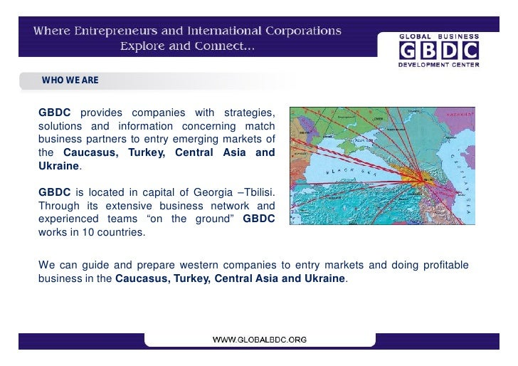 WHO WE ARE   GBDC provides companies with strategies, solutions and information concerning match business partners to entr...