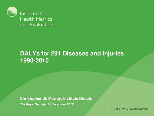 DALYs for 291 Diseases and Injuries1990-2010Christopher JL Murray, Institute DirectorThe Royal Society, 14 December 2012