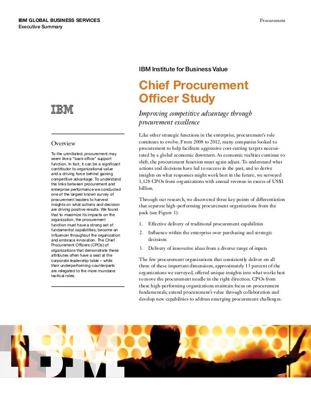 IBM GLobal business services Executive Summary Procurement Chief Procurement Officer Study Improving competitive advantage...