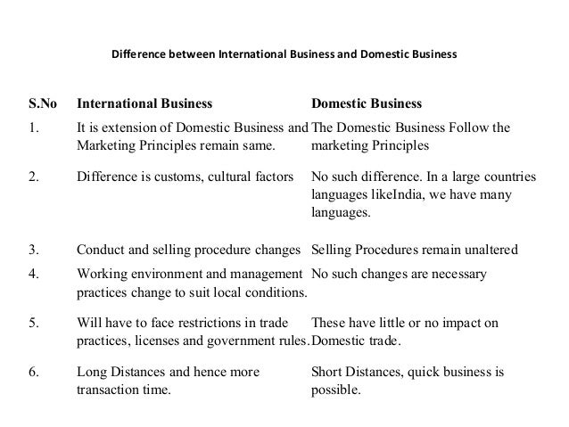 difference between domestic and international business