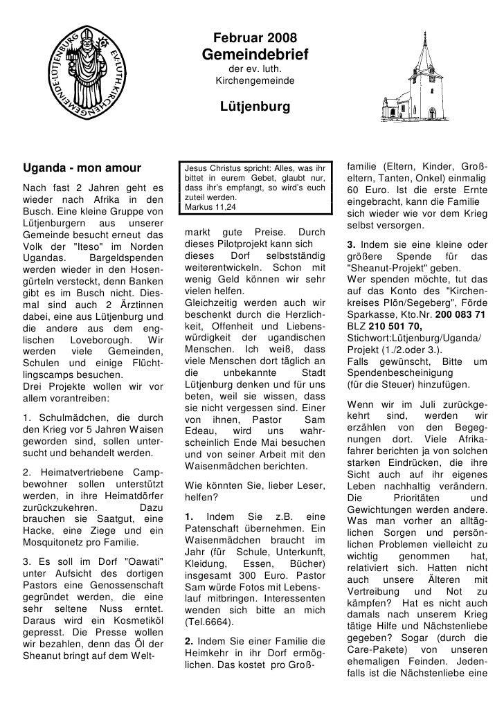 Februar 2008                                      Gemeindebrief                                             der ev. luth. ...