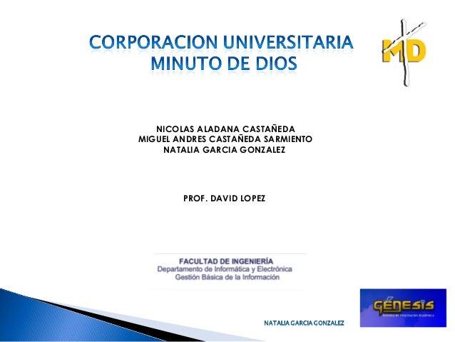 NICOLAS ALADANA CASTAÑEDA MIGUEL ANDRES CASTAÑEDA SARMIENTO NATALIA GARCIA GONZALEZ PROF. DAVID LOPEZ