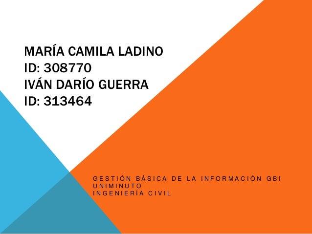 MARÍA CAMILA LADINOID: 308770IVÁN DARÍO GUERRAID: 313464         GESTIÓN BÁSICA DE LA INFORMACIÓN GBI         UNIMINUTO   ...