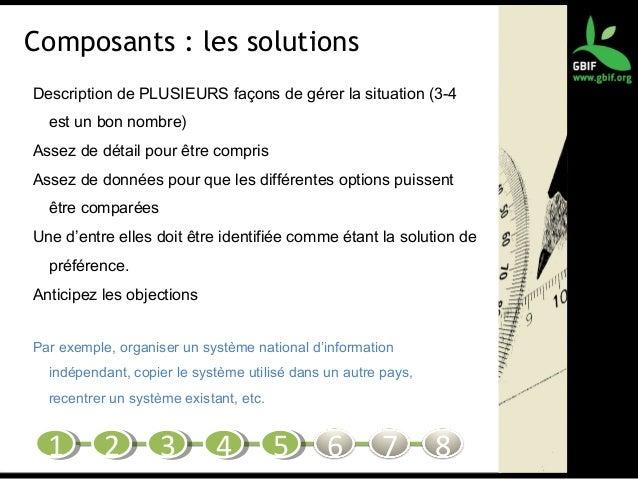 Composants : les solutions Description de PLUSIEURS façons de gérer la situation (3-4 est un bon nombre) Assez de détail p...