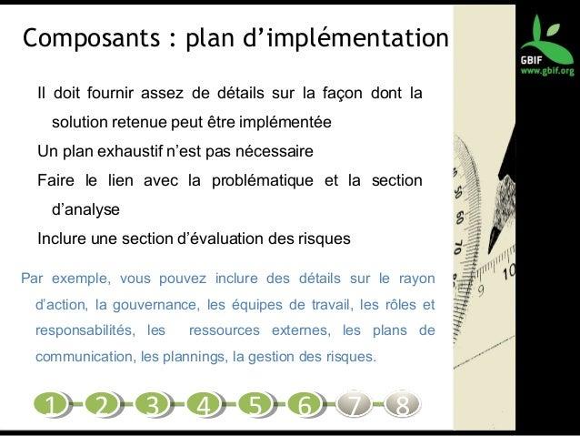 Composants : plan d'implémentation Il doit fournir assez de détails sur la façon dont la solution retenue peut être implém...