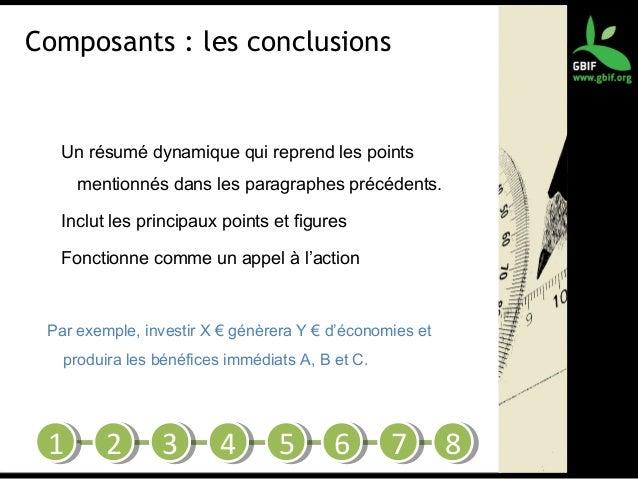 Composants : les conclusions Un résumé dynamique qui reprend les points mentionnés dans les paragraphes précédents. Inclut...