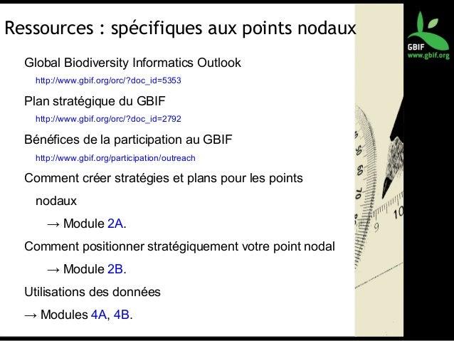 Ressources : spécifiques aux points nodaux Global Biodiversity Informatics Outlook http://www.gbif.org/orc/?doc_id=5353 Pl...