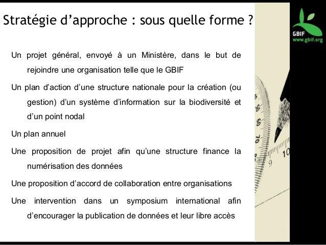 Stratégie d'approche : sous quelle forme ? Un projet général, envoyé à un Ministère, dans le but de rejoindre une organisa...