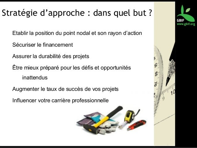 Stratégie d'approche : dans quel but ? Etablir la position du point nodal et son rayon d'action Sécuriser le financement A...
