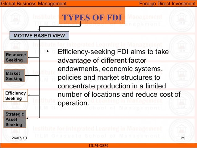 types of fdi targets and motive Keywords: fdi determinants fdi motives taxonomy foreign direct investments   when a firm invests abroad is actually pursuing a set of different aims and,   these two types of motivations are the most cited and debated in the relevant.