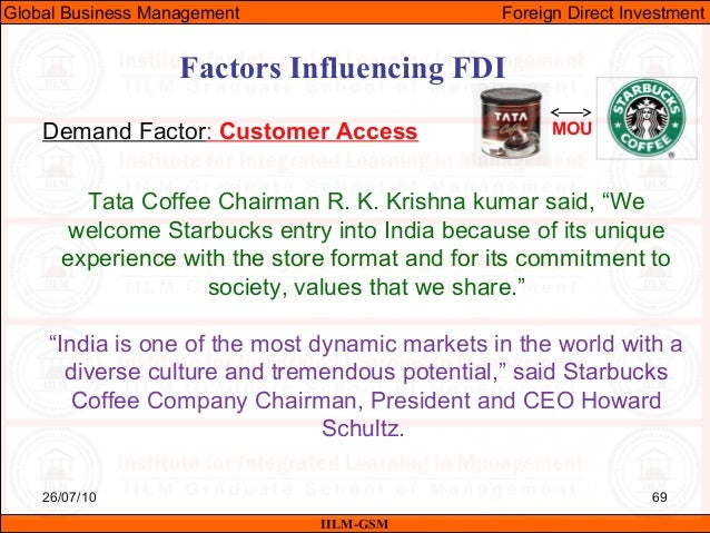 starbucks fdi Negative impact of fdi on the host country : surge in crime rate in india 125 a few decades ago crime rate could be related as an inevitable result of poverty.